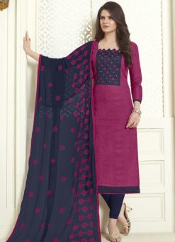 Violet Cotton Embroidered Work Churidar Salwar Kameez