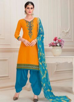 Orange Cotton Embroidered Work Designer Patiyala Salwar Kameez