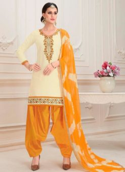 Cream Cotton Embroidered Work Designer Patiyala Salwar Kameez