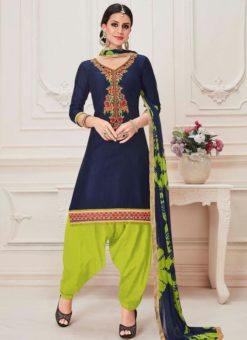 Navy Blue Cotton Embroidered Work Deisgner Patiyala Salwar Kameez