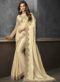 Cream Shimmer Satin Embroidered Broder Designer Saree