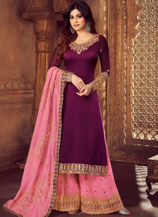 Purple Georgette Embroidered Work Palazzo Suit
