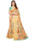 Multicolor Linen Printed Party Wear Saree