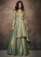 Green Satin Embroidered Work Designer Gown