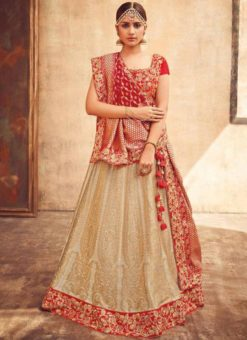 Beige Silk Zari Weaving Wedding Lehenga Choli]