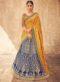Blue Silk Zari Weaving Wedding Lehenga Choli
