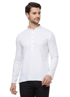 White Cotton Plain Short Designer Readymade Kurta