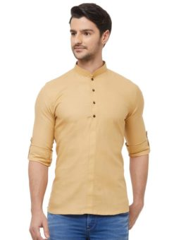Cream Cotton Plain Short Designer Readymade Kurta