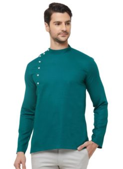 Green Cotton Plain Short Designer Readymade Kurta