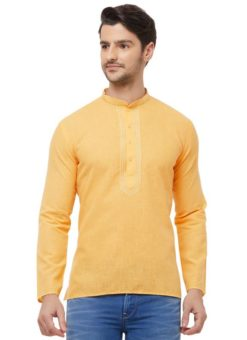 Orange Cotton Plain Short Designer Readymade Kurta