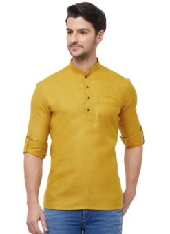 Mustard Cotton Plain Short Designer Readymade Kurta