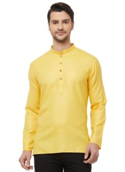Yellow Cotton Plain Short Designer Readymade Kurta