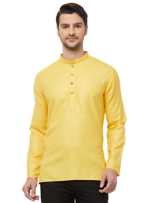 Yellow Cotton Plain Short Designer Readymade Kurta