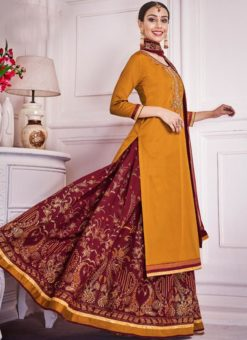 Orange Silk Embroidered Work Designer Long Lehenga Choli