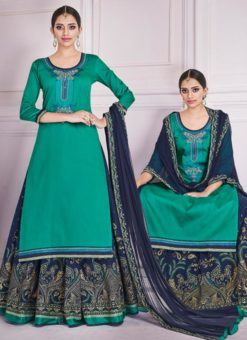 Green Silk Embroidered Work Designer Long Lehenga Choli