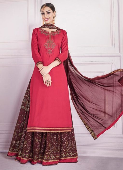 Red Silk Embroidered Work Designer Long Lehenga Choli