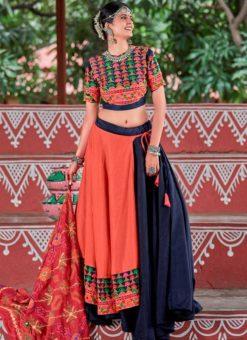 Red And Black Cotton Gamthi Work Navratri Lehenga Choli