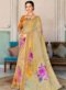 Multicolor Linen Party Wear Printed Saree