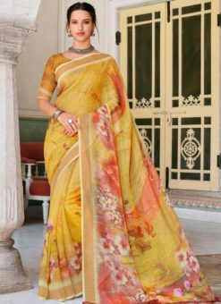 Yellow Linen Party Wear Printed Saree