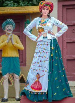 Green Cotton Thread Work Navratri Lehenga Choli