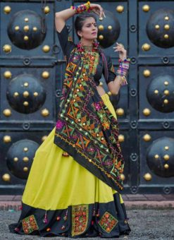 Black And Green Cotton Thread Work Navratri Lehenga Choli