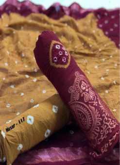 Purple And Brown Cotton Bandhani Dress Material