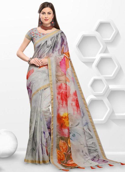 Grey Linen Printed Party Wear Saree