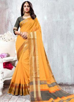 Yellow Cotton Thread Weaving Saree