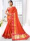Orange Cotton Silk Zari Weaving Party Wear Saree