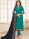 Turquoise Blue Georgette Embroidered Work Churidar Salwar Kameez