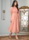 Peach Cotton Embroidered Work Designer Kurti