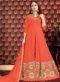 Orange Georgette Designer Floor Length Anarkali Suit