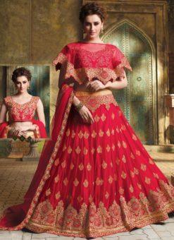Red Net Embroidered Work Designer Wedding Lehenga Choli