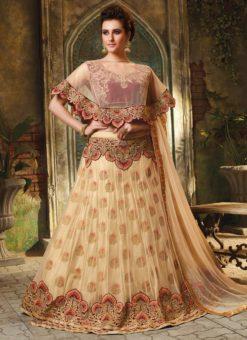 Beige Net Embroidered Work Designer Wedding Lehenga Choli