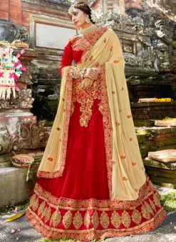 Red Georgette Embroidered Work Lehenga Choli
