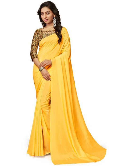 Yellow Crepe Casual Wear Saree