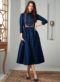 Navy Blue Cotton Embroidered Work Party Wear Kurti