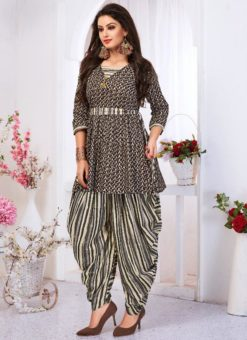 Black Cotton Printed Designer Patiyala Salwar Kameez