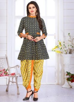 Grey Cotton Printed Designer Patiyala Salwar Kameez