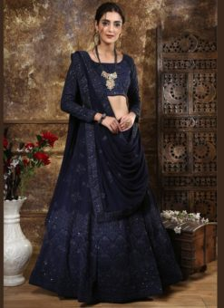 Navy Blue Georgette Sequence Work Designer Lehenga Choli