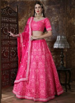 Pink Silk Embroidered Work Designer Lehenga Choli