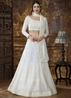 Off White Georgette Sequence Work Designer Lehenga Choli