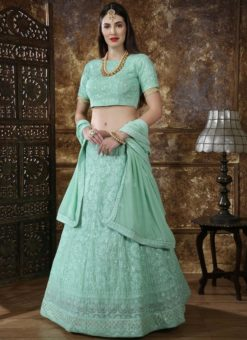 Green Georgette Sequence Work Designer Lehenga Choli