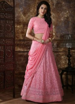Pink Georgette Sequence Work Designer Lehenga Choli