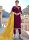 Purple Satin Designer Party Wear Salwar Kameez
