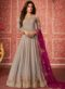 Grey Georgette Designer Embroidered Work Anarkali Suit