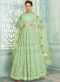 Pista Green Georgette Lakhnavi Work Designer Anarkali Suit