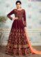 Shamita Shetty Maroon Silk Designer Party Wear Anarkali Suit