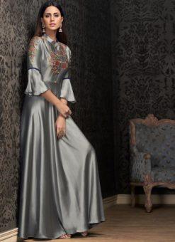 Grey Tapeta Silk Embroidered Work Designer Gown