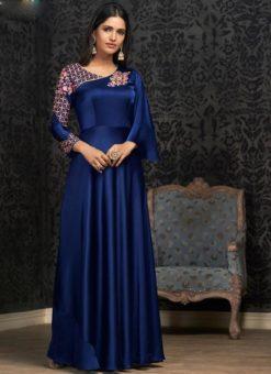 Blue Tapeta Silk Embroidered Work Designer Gown